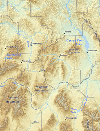 Physical Landscape of Montana Map
